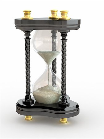 sand clock - Hourglass. Handglass  on white isolated background. 3d Stock Photo - Budget Royalty-Free & Subscription, Code: 400-06923965