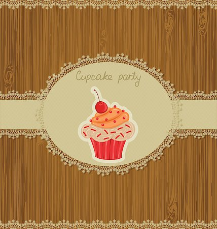 Invitation card for cupcake party Stock Photo - Budget Royalty-Free & Subscription, Code: 400-06944017