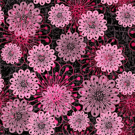 Black grunge seamless pattern with red and pink translucent flowers (vector eps10) Stock Photo - Budget Royalty-Free & Subscription, Code: 400-06944660