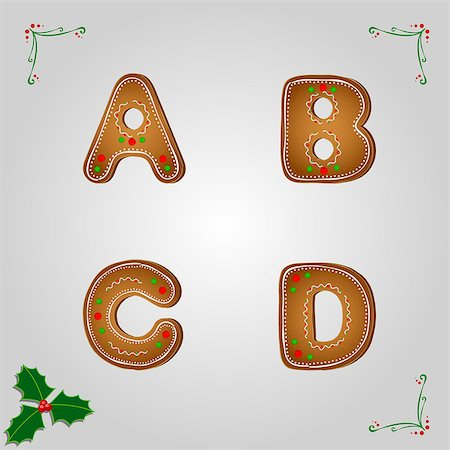 fancy letters - Christmas gingerbread letters from a to d Stock Photo - Budget Royalty-Free & Subscription, Code: 400-06945074