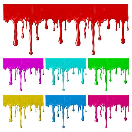 Border of paint drips of different colors. Mesh. Clipping Mask.(can be repeated and scaled in any size) Stock Photo - Budget Royalty-Free & Subscription, Code: 400-06945628