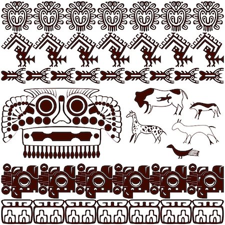Vector of set of ancient American ornaments on white Stock Photo - Budget Royalty-Free & Subscription, Code: 400-06945761