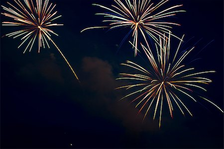 Fireworks on the dark sky during the night of the feast. Stock Photo - Budget Royalty-Free & Subscription, Code: 400-06945861