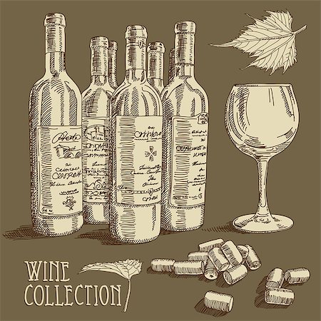 wine collection,  this illustration may be useful as designer work Stock Photo - Budget Royalty-Free & Subscription, Code: 400-06946202