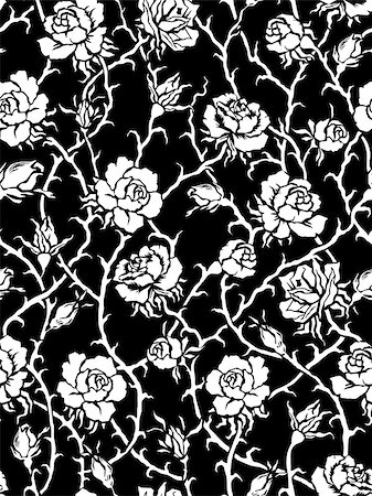 Black roses. Seamless pattern Stock Photo - Budget Royalty-Free & Subscription, Code: 400-06946304