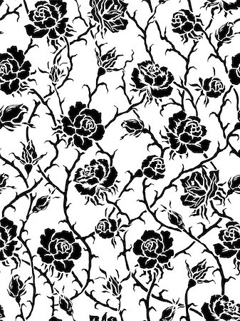Black roses. Seamless pattern Stock Photo - Budget Royalty-Free & Subscription, Code: 400-06946302