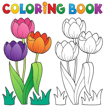 flower clipart paint - Coloring book with flower theme 4 - eps10 vector illustration. Stock Photo - Budget Royalty-Free & Subscription, Code: 400-06946481