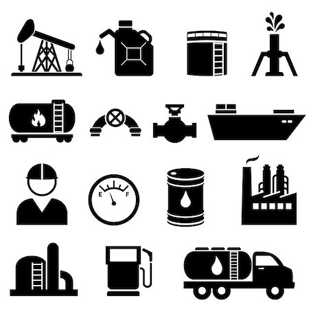 soleilc (artist) - Oil and petroleum icon set in black Stock Photo - Budget Royalty-Free & Subscription, Code: 400-06946554