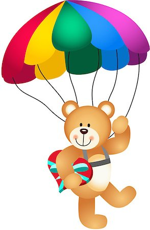 flying hearts clip art - Scalable vectorial image representing a teddy bear parachute holding heart, isolated on white. Stock Photo - Budget Royalty-Free & Subscription, Code: 400-06946640