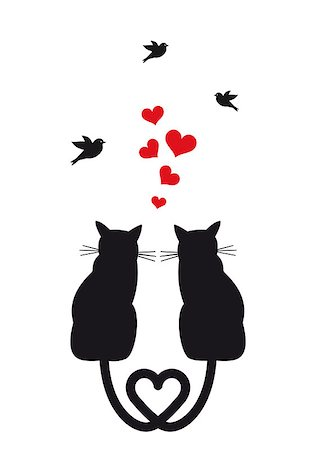 simsearch:400-04399778,k - cats in love with red hearts and birds, vector illustration Stock Photo - Budget Royalty-Free & Subscription, Code: 400-06947114