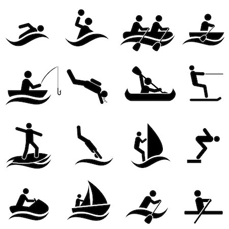 soleilc (artist) - Water sports icon set in black Stock Photo - Budget Royalty-Free & Subscription, Code: 400-06947375