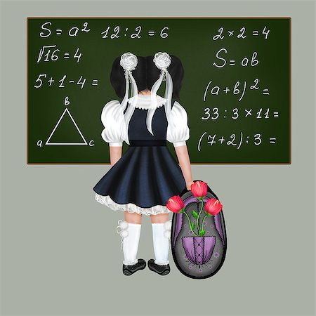 flower drawings black - Little black-haired schoolgirl with a big backpack and flowers. Drawing back to school. Stock Photo - Budget Royalty-Free & Subscription, Code: 400-06948235
