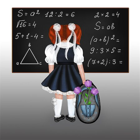 flower drawings black - Little red-haired schoolgirl with a big backpack and flowers. Drawing back to school. Stock Photo - Budget Royalty-Free & Subscription, Code: 400-06948236