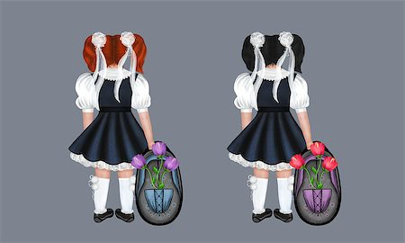 flower drawings black - Little schoolgirls with a big backpack and flowers. Drawing back to school. Stock Photo - Budget Royalty-Free & Subscription, Code: 400-06948238