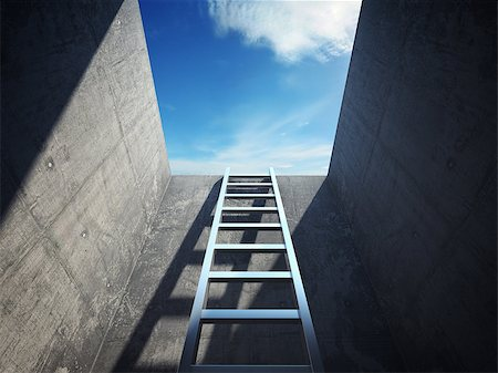 enki (artist) - Ladder leading up to the light Stock Photo - Budget Royalty-Free & Subscription, Code: 400-06950118