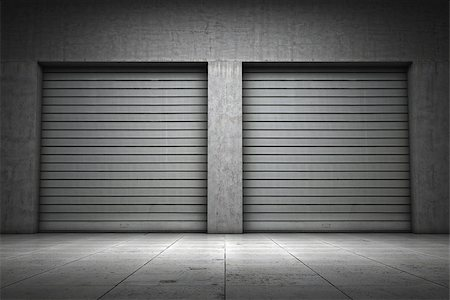 enki (artist) - Garage building made ??of concrete with roller shutter doors Stock Photo - Budget Royalty-Free & Subscription, Code: 400-06950176
