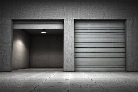 enki (artist) - Garage building made ??of concrete with roller shutter doors Stock Photo - Budget Royalty-Free & Subscription, Code: 400-06950177