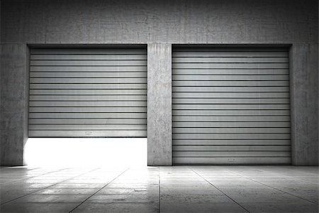 enki (artist) - Garage building made of concrete with roller shutter doors Stock Photo - Budget Royalty-Free & Subscription, Code: 400-06950178