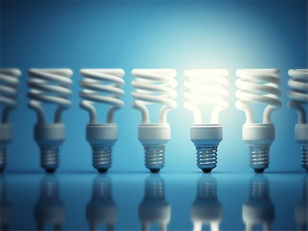 enki (artist) - One glowing light bulb among many of the disabled Stock Photo - Budget Royalty-Free & Subscription, Code: 400-06950182