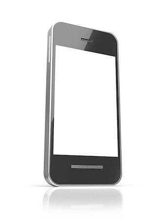 enki (artist) - Black smart phone with touch screen blank isolated on white background Stock Photo - Budget Royalty-Free & Subscription, Code: 400-06950190