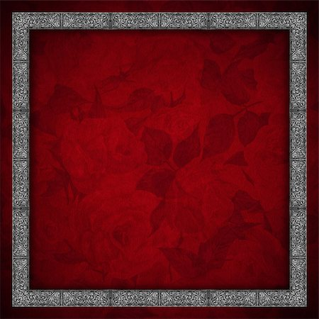 Red velvet texture background with roses flowers and silver floral frame Stock Photo - Budget Royalty-Free & Subscription, Code: 400-06950633