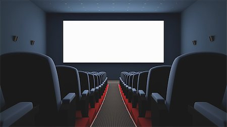 Inside of the cinema. Several empty seats waiting the movie on the screen. Your text or picture on the white screen. Stock Photo - Budget Royalty-Free & Subscription, Code: 400-06952851
