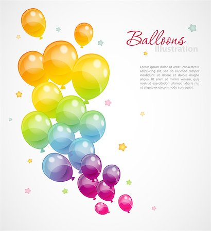Vector illustration of Background with colorful balloons Stock Photo - Budget Royalty-Free & Subscription, Code: 400-07034196