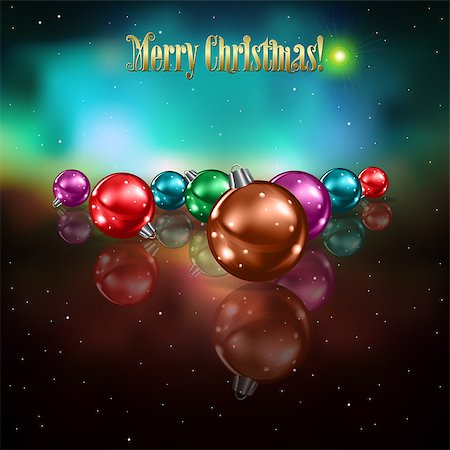 Abstract celebration background with color Christmas decorations and stars Stock Photo - Budget Royalty-Free & Subscription, Code: 400-07034334