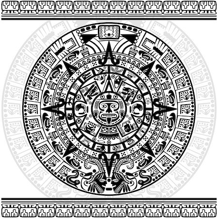 Vector of Mayan calendar on white background. Stock Photo - Budget Royalty-Free & Subscription, Code: 400-07034990