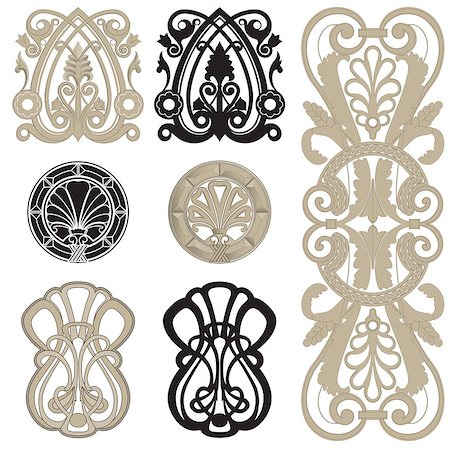 filigree - Design elements black & white gradient shadow Stock Photo - Budget Royalty-Free & Subscription, Code: 400-07035177