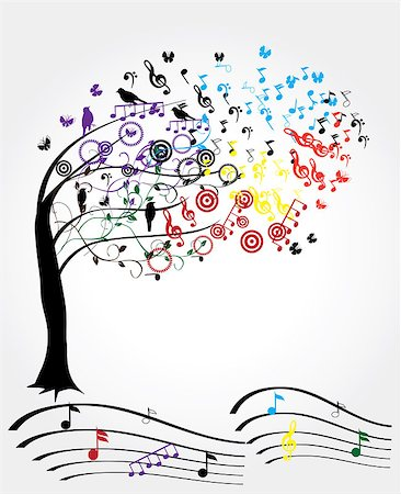 vector music tree Stock Photo - Budget Royalty-Free & Subscription, Code: 400-07035256