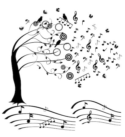 vector music tree Stock Photo - Budget Royalty-Free & Subscription, Code: 400-07035257