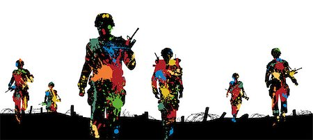 Editable vector illustration of paint splattered soldiers walking on patrol Stock Photo - Budget Royalty-Free & Subscription, Code: 400-07035405