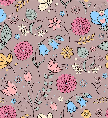 Vector illustration of seamless pattern with abstract flowers.Floral background Stock Photo - Budget Royalty-Free & Subscription, Code: 400-07035445