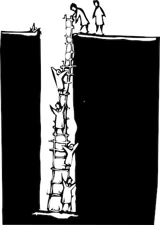 education loan - Woodcut style image of people climbing out of a deep hole using a ladder. Stock Photo - Budget Royalty-Free & Subscription, Code: 400-07037298