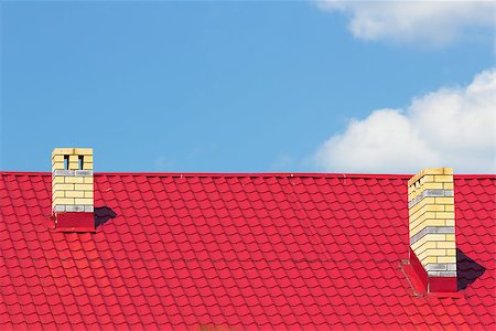 pzromashka (artist) - Red roof with chimneys against the sky Stock Photo - Budget Royalty-Free & Subscription, Code: 400-07037529