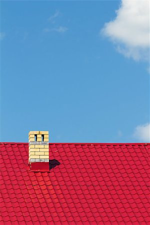 pzromashka (artist) - Red roof with chimney against the sky Stock Photo - Budget Royalty-Free & Subscription, Code: 400-07037530