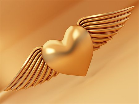 Heart and wings on yellow background. 3d Stock Photo - Budget Royalty-Free & Subscription, Code: 400-07038216