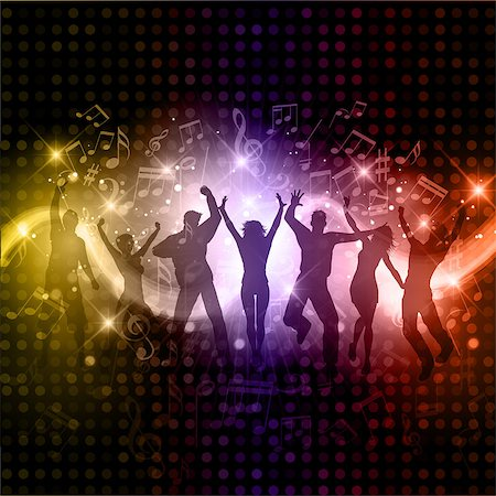 Silhouettes of people dancing on a music notes background Stock Photo - Budget Royalty-Free & Subscription, Code: 400-07038648