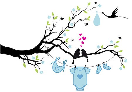 simsearch:400-04399778,k - cute baby shower design with birds on tree, vector background Stock Photo - Budget Royalty-Free & Subscription, Code: 400-07039259
