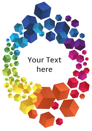 frame with colorful 3D cubes, vector background Stock Photo - Budget Royalty-Free & Subscription, Code: 400-07039465