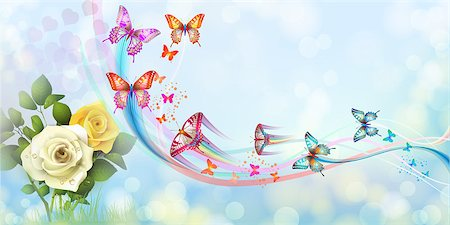 Background with roses and butterflies Stock Photo - Budget Royalty-Free & Subscription, Code: 400-07039534