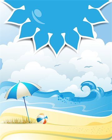 Blue solar shape with beach ball and umbrella Stock Photo - Budget Royalty-Free & Subscription, Code: 400-07039545