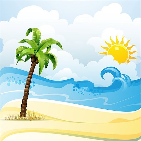 Beach with palm tree Stock Photo - Budget Royalty-Free & Subscription, Code: 400-07039542