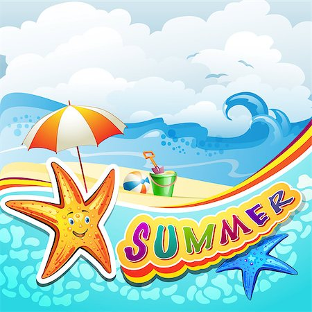 Summer beach with starfish and toys Stock Photo - Budget Royalty-Free & Subscription, Code: 400-07039563