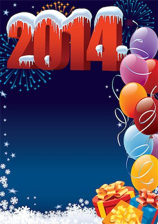 New Year 2014 decoration with copy space for your message Stock Photo - Budget Royalty-Free & Subscription, Code: 400-07039653
