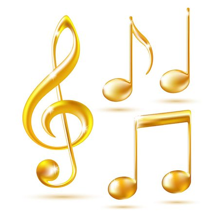 Gold icons of a Treble clef and music notes. Vector illustration. Stock Photo - Budget Royalty-Free & Subscription, Code: 400-07032439