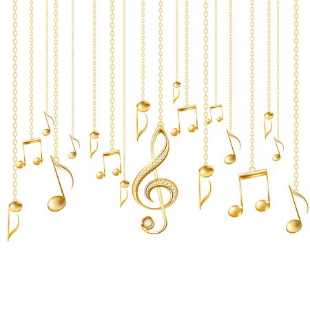 Card with musical notes and golden treble clef on a white background. Vector illustration Stock Photo - Budget Royalty-Free & Subscription, Code: 400-07032455
