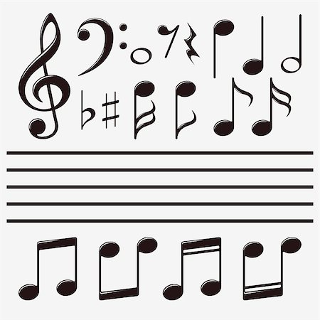 sheet music background - Vector icons set music note Stock Photo - Budget Royalty-Free & Subscription, Code: 400-07032720