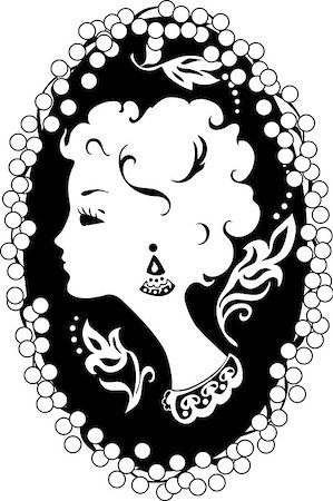 Woman silhouette vintage profile  in cameo Stock Photo - Budget Royalty-Free & Subscription, Code: 400-07032974